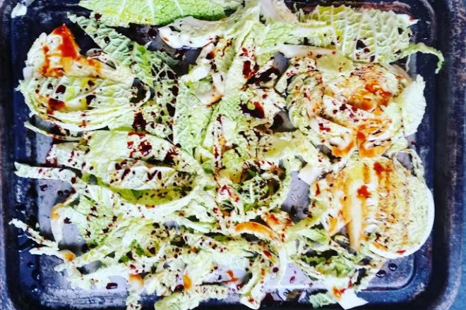 roasted tamari cabbage warm salad recipe